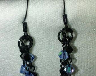 Black metal with black and blue crystal beads