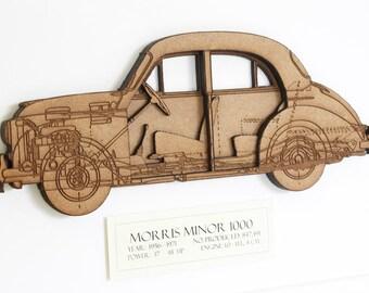 Morris Minor Blueprint, Car Art, Morris Minor, Blueprint Art, Custom Wall Art, Classic Car Art, Laser Cut Wood, Morris Minor, 8x10 or A4