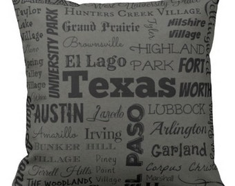 Texas cities pillow - TX typography throw pillow - rust or gray decorative pillow - Tex. cushion - gift