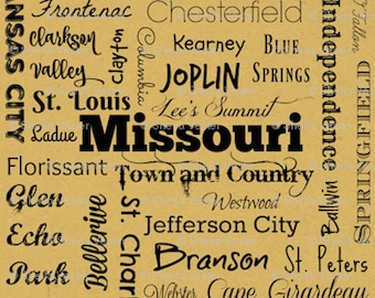 Missouri Cities fabric - fat quarter - FQ - taupe and black - gray and black - yellow and black