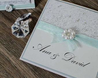 luxury expensive elegant glitter pearls white shimmer rhinestones tiffany wedding invitations invitation - Expensive Wedding Invitations