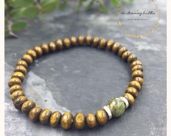 Childbirth Bracelet Boho Wooden Gemstone Jewellery Unakite Pregnancy Bracelet Fertility Jewelry Healing Crystal Bracelet Wrist Mala Gift