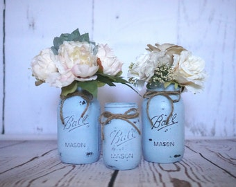 Three Serene Colored Mason Jars, Distressed, Rustic, Shabby Chic Wedding Centerpieces, Baby Shower, Flower Vases, Gift