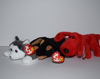 Three TY Beanie Babies Dog Beanie Baby Stuffed Animal Doby the Doberman, Nanook the Huskie, Rover the Dog