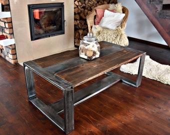 Handmade Reclaimed Wood & Steel Coffee Table Vintage Rustic Industrial Coffee Table loft end table unique