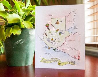 Map of Guatemala art card, Guatemala, KatrinaDawnStudio