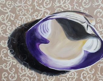Original Acrylic on Canvas, Shell on Fabric