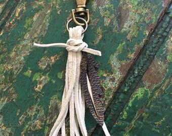 Handmade tassel w/LV feather charm