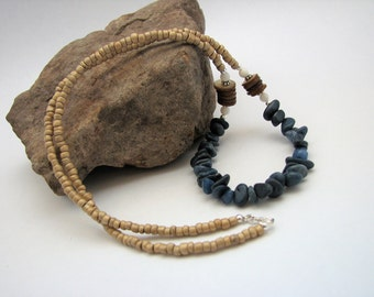 Blue Quartzite, Shell, Glass & Sterling Silver Necklace