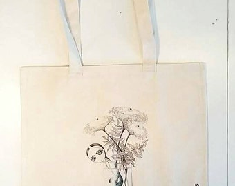 Tote Bags,Shopper bag, Market Bag, cotton bag with log handles,Canvas Tote Bag