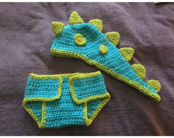 Dino Baby Hat & Diaper Cover
