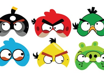 Angry Birds Party Photo Booth Props Printable, 6 Angry Birds Masks Printable