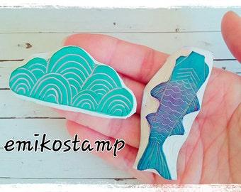 SALE Japanese stamps set,fish rubber stamp,wedding card,Koi carp stamp,Rubber stamp set,Cute Stamp,Japanese stationery,writing stationery