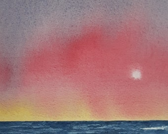 Crimson Haze - Original Skyscapes watercolour painting, part of my Skyscapes series