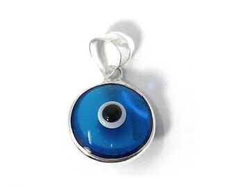 Evil Eye Pendant Blue Eye Charm 925 Sterling Silver Eye. Glass Evil Eye Bead Turkish Eye Charm