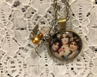 Victorian Women/Sister/Sisters Glass Pendant Charm Necklace