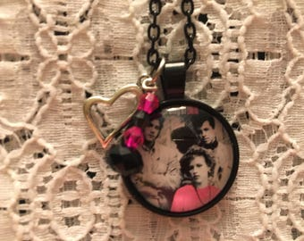 Pretty in Pink Glass Pendant Charm Necklace/Molly Ringwald Necklace/Pretty in Pink Movie Necklace/80's Movie Necklace