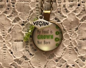 Vegan Glass Pendant Charm Necklace/Vegan Jewelry/Vegan Necklace/Vegan Pendant