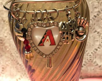 Arizona Diamondbacks Charm Bangle Bracelet/Arizona Diamondbacks/Diamondbacks Jewelry/Diamondbacks Bangle/Diamondbacks Bracelet/Diamondbacks