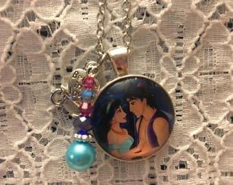 Aladdin and Jasmine Charm Necklace/Princess Jasmine Necklace/Princess Jasmine Pendant/Disney Aladdin Jewelry/Aladdin Necklace/Aladdin