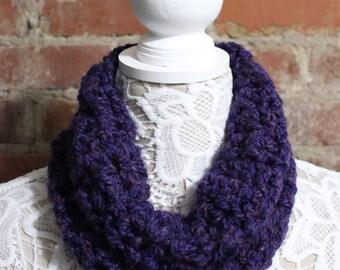 Textured Cowl Neck Scarf - Dark Purple