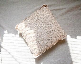 Vintage Crochet Throw Pillow