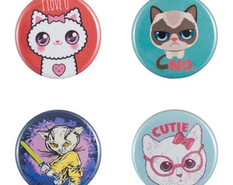 """Funny Cats 8 Pack of 1.25"""" Button Pins"""
