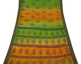 Vintage Indian Saree Georgette Green Hand-Beaded Craft Sarong Used Fabric Antique Sari 5 YD VGR6039