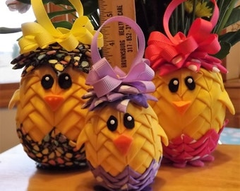 """2"""" Easter Chick Quilted Ornament"""