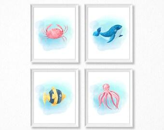PRINTABLE Watercolor Ocean Animal Print Set, Sea Animal Nursery Print, Marine Nursery, Ocean Nursery Art, Watercolor Fish Octopus Whale Crab