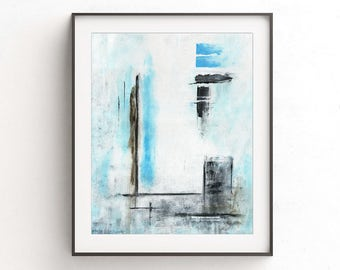 Minimalist print Instant download printable wall decor art blue white abstract painting modern home decor design contemporary artwork