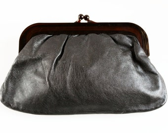 Vintage genuine black leather clutch purse made in Italy