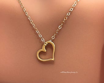 Gold Open Heart Charm Necklace