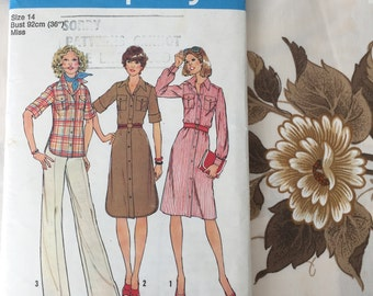 """70s Women's Pointed Collar Shirt Dress or Shirt with Pleated Patch Pockets Simplicity 7345 Vintage Sewing Pattern Size 14 Bust 36"""""""