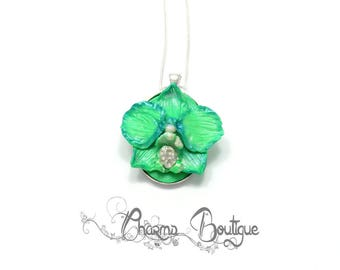 Green Orchid Necklace Flower Necklace Flower Jewelry Floral Dainty Necklace Orchid Jewelry Christmas Gift Lovely Necklace Gift for her