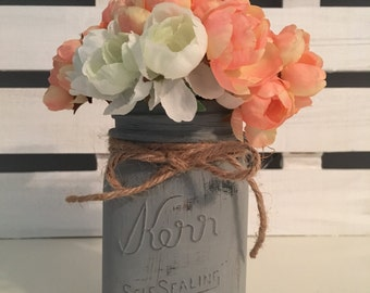Painted and Distressed Gray Mason Jar with Pink and White Peonies, 16 oz
