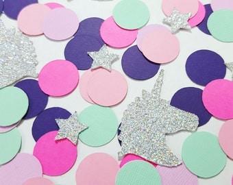 100 pcs Glitter UNICORN & STARS Confetti - Pinks, Purples, Teal + Glitter Option / Unicorn Decorations / Unicorn Party Decor / 1st Birthday