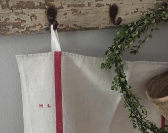 French Kitchen Towel with Red HL Monogram//Metis//Linen Cotton//Dish Towel