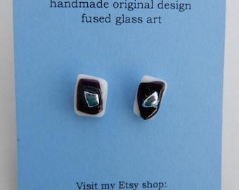 Dichroic fused glass post earrings