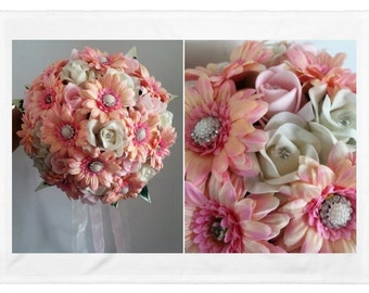 Gorgeous silk Gerberas, roses jewelled wedding bouquets, Brides, Bridesmaids, Flowergirls etc