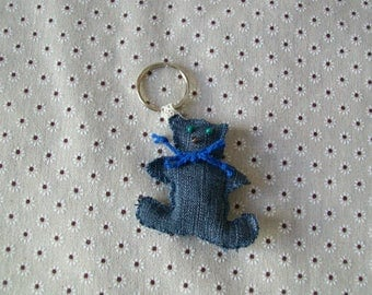 Keychain made from recycled jeans