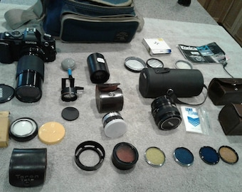 Konica FS-1 Camera with Accessories and Case