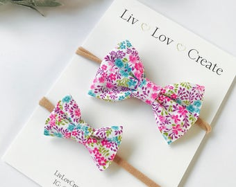 Baby Headbands | Baby Bows | Nylon Headbands | Bow Clips - Infant / toddler / child bows - spring carnation