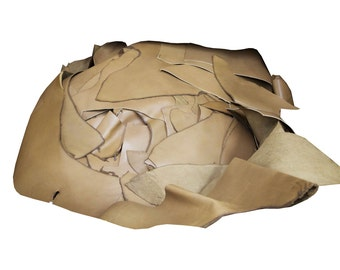 5lb Tan Leather Scrap. Great For Crafting. Make Coasters, Wallets, Belts, and More! Domestic Leather