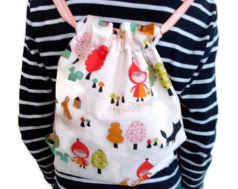 "Kids backpack - tote bag - ""the little Red Riding Hood"" theme / Backpack for child - tote - theme ""the little red Riding Hood"""