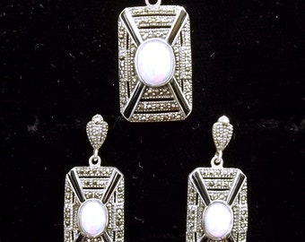 Sterling silver Opal Onyx and Marcasite Art Deco Pendant and Earrings