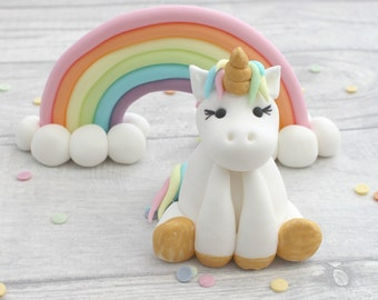 unicorn and rainbow cake toppers, unicorn model, sugarpaste rainbow, birthday cake topper, unicorn cake model, fondant sugar cake decoration