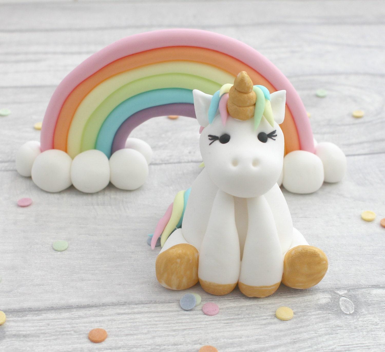 unicorn and rainbow cake toppers unicorn model sugarpaste