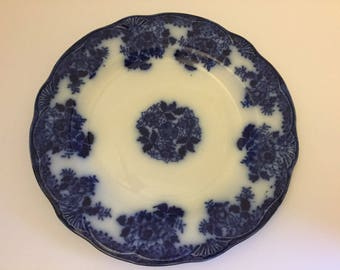 Antique Flow Blue Plate~New Wharf Pottery~ Waldorf Pattern Plates~ Vintage Late 1800's