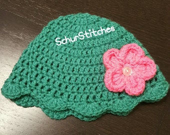 Baby girl hat, teal hat,hat with flower, scalloped edge hat, crochet hat, crochet gift, baby girl gift, photo prop